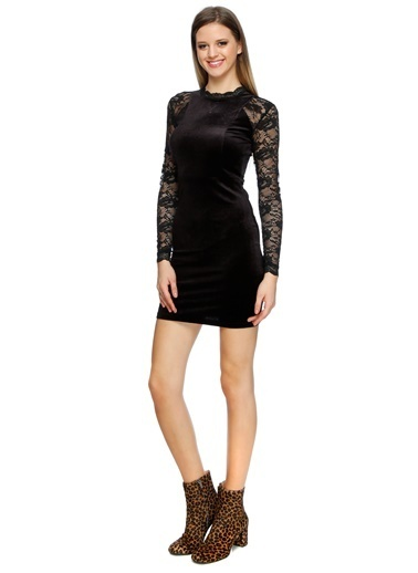 Only Only Kadife Tül Detaylı Elbise Siyah
